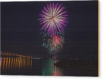 Fireworks Over The York River Wood Print by James Drake