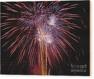 Fireworks Wood Print by Philip Pound