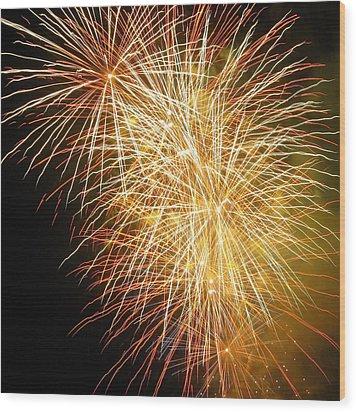 Fireworks Wood Print by Ramona Johnston