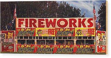 Fireworks Wood Print by Ron Regalado