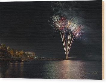 Fireworks San Lorenzo Al Mare 2013 1970 - Ph Enrico Pelos Wood Print
