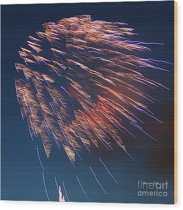Fireworks Series I Wood Print by Suzanne Gaff