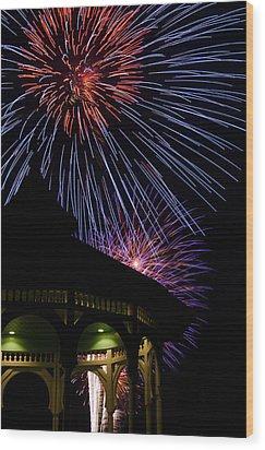 Fireworks Wood Print by Steve Myrick