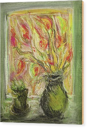 Wood Print featuring the painting Firery Window by Linde Townsend