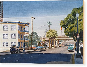 First Avenue In San Diego Wood Print by Mary Helmreich