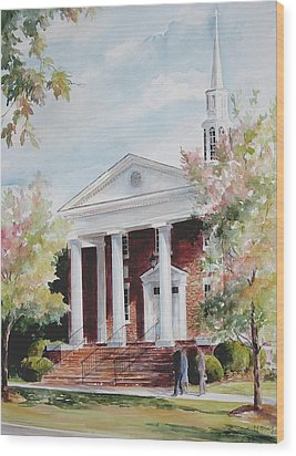 Wood Print featuring the painting First Baptist Church Sold by Gloria Turner
