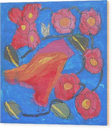 Wood Print featuring the painting First Bird by Artists With Autism Inc