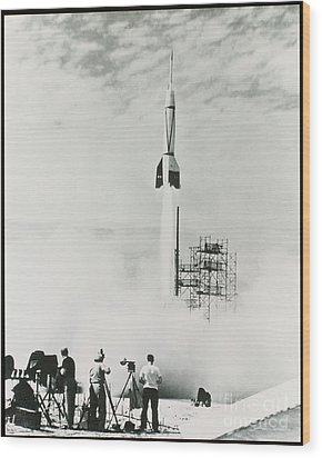 First Cape Canaveral Rocket Launch Wood Print by NASA Science Source
