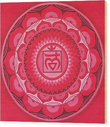 First Chakra Mandala Wood Print by Vlatka Kelc