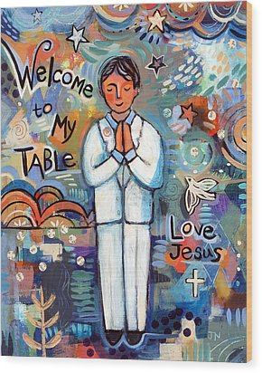 First Communion Boy Wood Print by Jen Norton