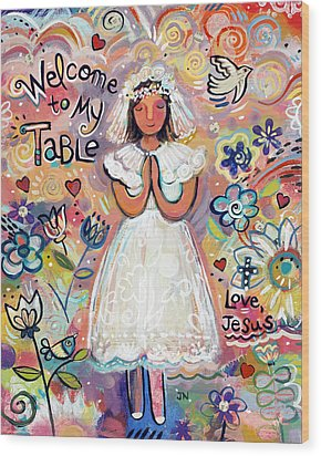 First Communion Girl Wood Print by Jen Norton