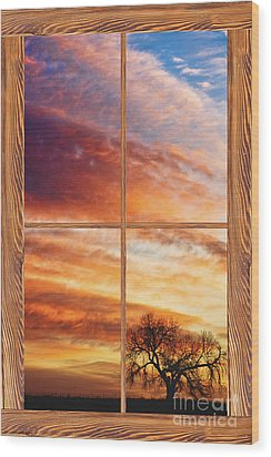 First Dawn Barn Wood Picture Window Frame View Wood Print by James BO  Insogna