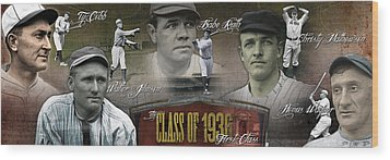First Five Baseball Hall Of Famers Wood Print
