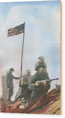 First Flag Over Iwo Jima Wood Print