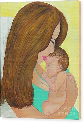 First Kiss- Mother And Newborn Baby Wood Print by Shelia Kempf