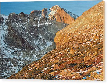 First Light At Longs Peak Wood Print by Eric Glaser