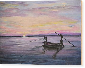Wood Print featuring the painting First Light by Debbie Baker
