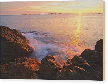 First Light Marblehead Wood Print