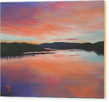 Wood Print featuring the painting Arkansas River Sunrise by Glenn Beasley