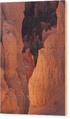 Wood Print featuring the photograph First Light On Hoodoos by Susan Rovira