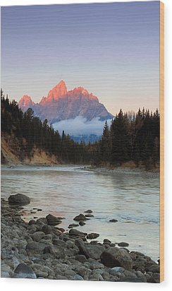 First Light On The Grand Teton Wood Print by Johnny Adolphson