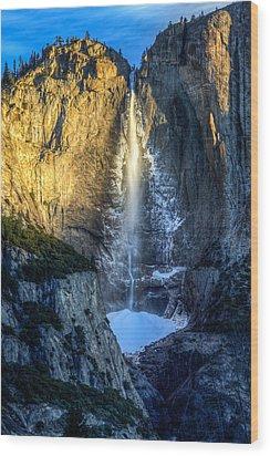 First Light On Yosemite Falls Wood Print