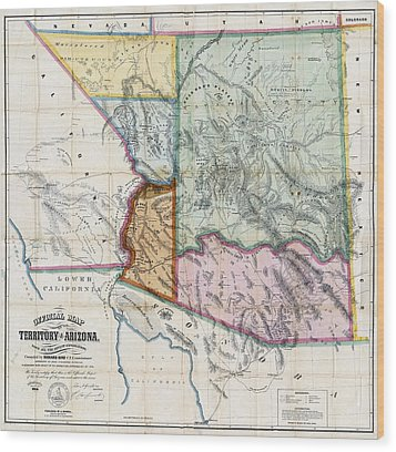 First Map Of Arizona Territory  1865 Wood Print by Daniel Hagerman