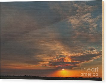First Montana Sunset Wood Print by Charles Kozierok