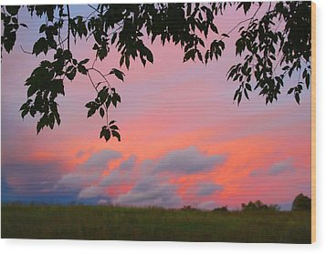 Wood Print featuring the photograph First October Sunset by Kathryn Meyer