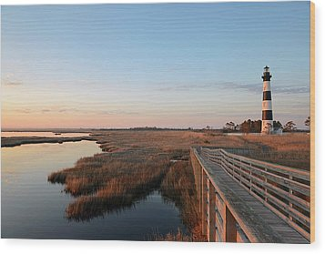 First Rays On Bodie Island Wood Print