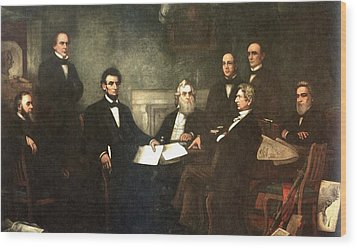 First Reading Of The Emancipation Proclamation Of President Lincoln Wood Print by Georgia Fowler