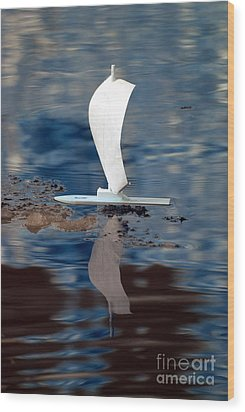 Wood Print featuring the photograph First Sail by Rebecca Parker
