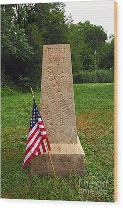 First Shot Monument Gettysburg Wood Print by James Brunker