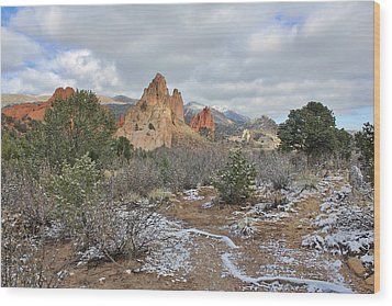 Wood Print featuring the photograph First Snow At Garden Of The Gods by Diane Alexander