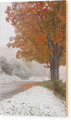 First Snow Wood Print by Butch Lombardi