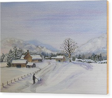 First Snow Wood Print by Jan Cipolla