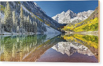 First Snow Maroon Bells Wood Print