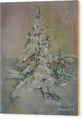 First Snow Wood Print by Mary Haley-Rocks