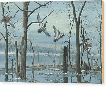 Wood Print featuring the painting First Snow by Mike Brown