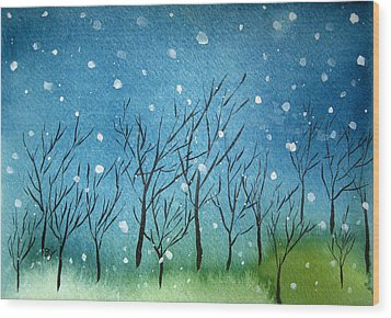 First Snow Wood Print by Oiyee At Oystudio
