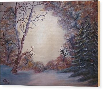 Wood Print featuring the painting First Snow by The GYPSY And DEBBIE