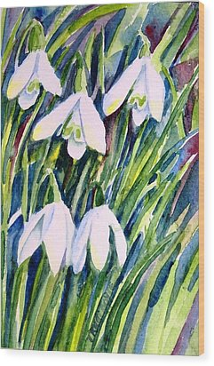 Wood Print featuring the painting First Snowdrops Of Winter  by Trudi Doyle