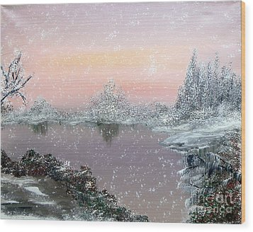 First Snowfall Wood Print by Alys Caviness-Gober