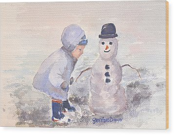 First Snowman Wood Print by Genevieve Brown