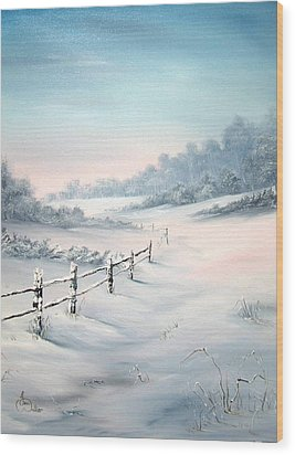 Wood Print featuring the painting First Snows by Jean Walker