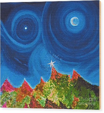 First Star Christmas Wish By Jrr Wood Print by First Star Art