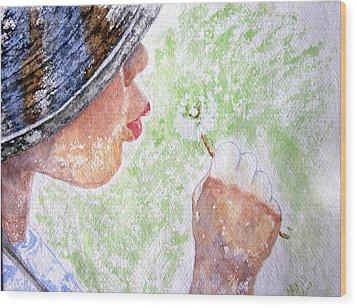 First-time Dandelion Wood Print by Maris Sherwood