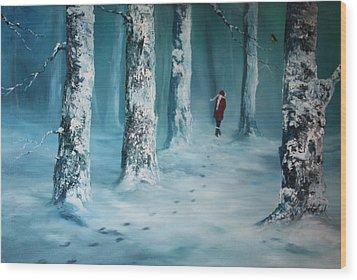 First Trodden Snows Wood Print
