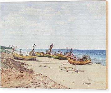 Fischerbootsanlegestelle Auf Der Ostsee Wood Print