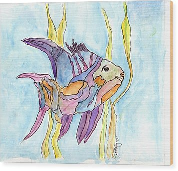 Fish 1 Wood Print by Diane Maley